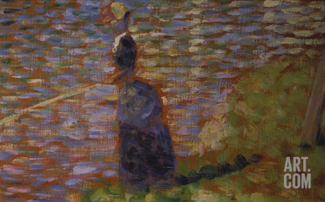 Angler at the Riverside of the Seine. Study for 'La Grande Jatte', 1884/85 Stretched Canvas Print