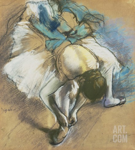 Dancer Adjusting Her Shoes, about 1880/85 Stretched Canvas Print
