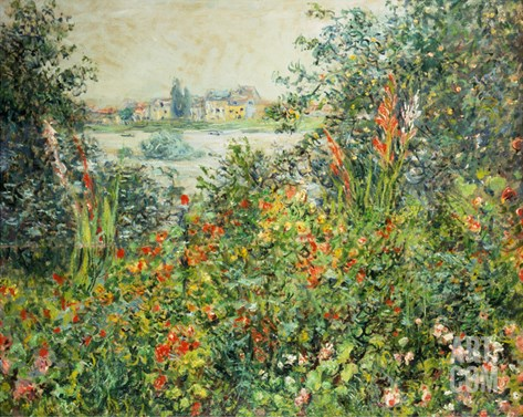 Flowering Meadow, Vetheuil, 1880 Stretched Canvas Print
