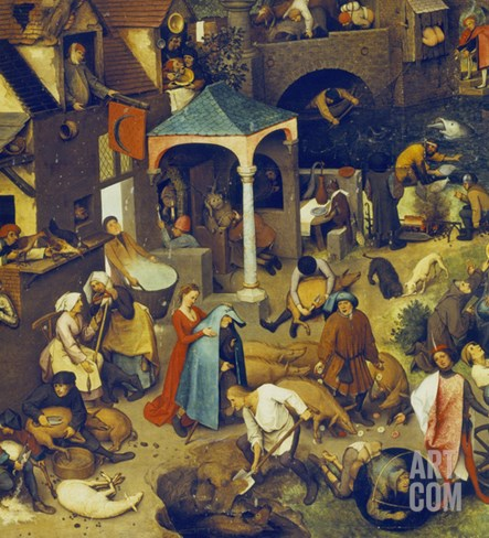 The Flemish Proverbs. (Detail of the Lower Centre) Stretched Canvas Print
