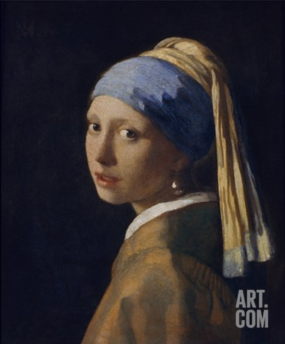 Girl with a Pearl Earring. Anout 1665 Stretched Canvas Print