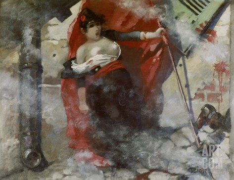 Louise Michel on the Barricades, March 18th 1871. Painted in 1885 Stretched Canvas Print