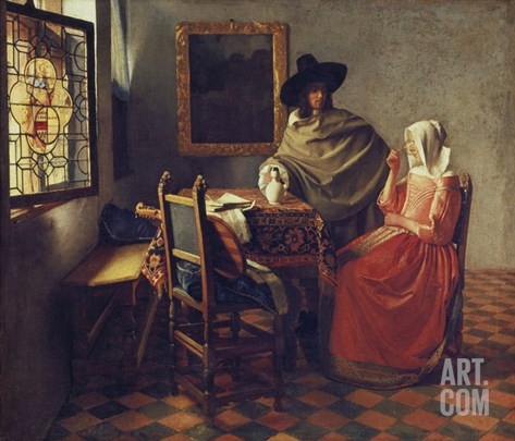 The Glass of Wine, about 1660/61 Stretched Canvas Print