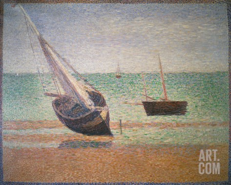 Boote Bei Ebbe Am Strand Von Grandcamp, 1885 Stretched Canvas Print