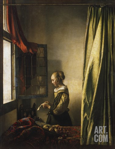 Girl at a Window Reading a Letter, about 1658 Stretched Canvas Print