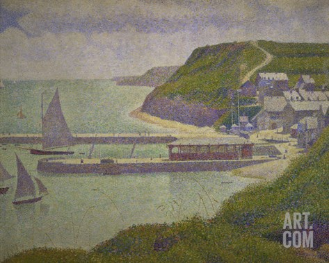 Harbour at Port-En-Bessin at High Tide, 1888 Stretched Canvas Print
