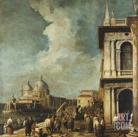 The Entrance to the Grand Canal, Venice, from the Piazetta Stretched Canvas Print