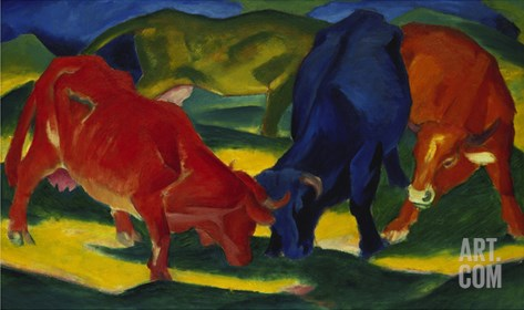 Fighting Oxen, 1911 Stretched Canvas Print