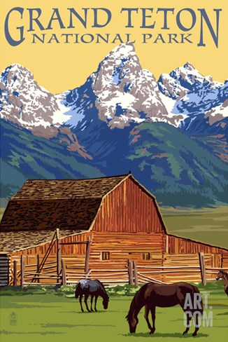 Grand Teton National Park - Barn and Mountains Stretched Canvas Print