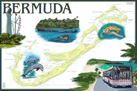 Bermuda - Nautical Chart Stretched Canvas Print