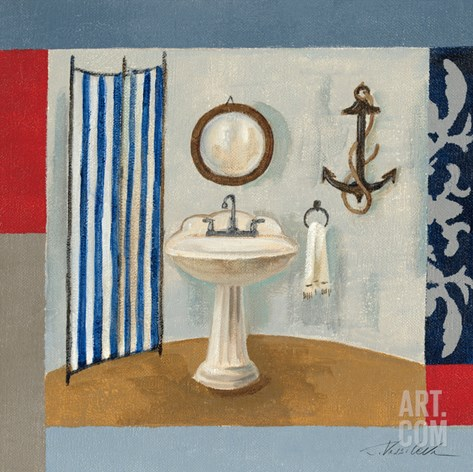 Nautical Bath I Stretched Canvas Print