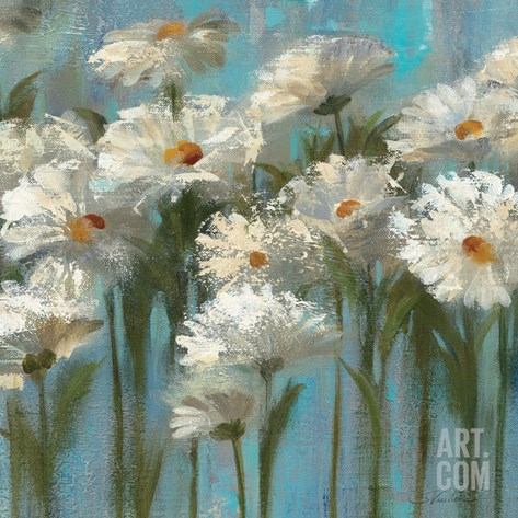 Daisies by the Lake Stretched Canvas Print