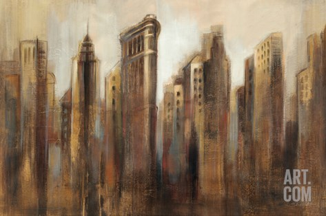 Flatiron Skyline Stretched Canvas Print