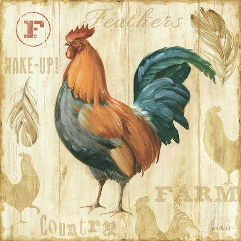 Joli Rooster II Stretched Canvas Print