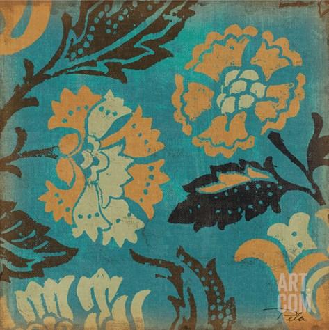 Estampes Floraux II Stretched Canvas Print