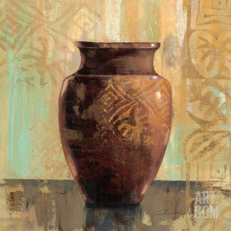 Glazed Pot II Decorative Accents Stretched Canvas Print