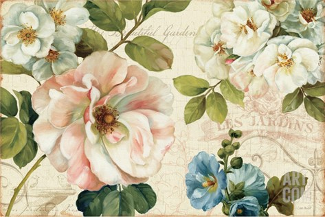 Les Jardin I Stretched Canvas Print