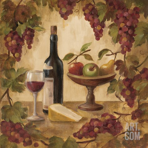 Wine and Cheese II Stretched Canvas Print