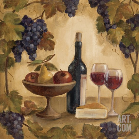 Wine and Cheese I Stretched Canvas Print