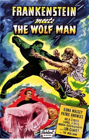 Frankenstein Meets the Wolf Man, 1943 Stretched Canvas Print