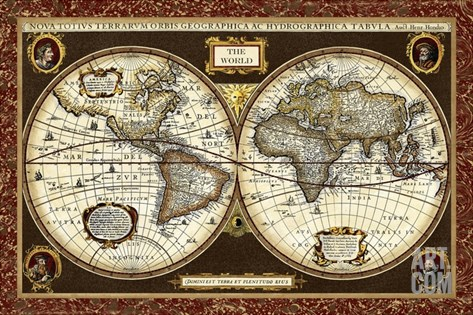 Decorative World Map Stretched Canvas Print