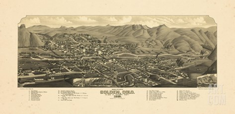 1882, Golden Bird's Eye View, Colorado, United States Stretched Canvas Print