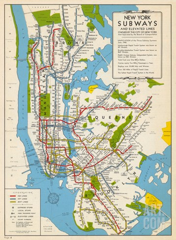 1949, New York Subway Map, New York, United States Stretched Canvas Print
