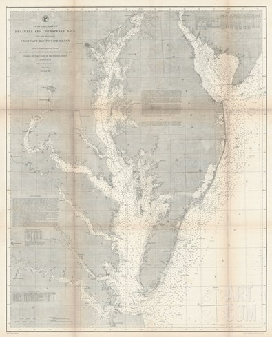 1866, Chesapeake Bay and Virginia's Eastern Shore Chart Virginia, Virginia, United States Stretched Canvas Print
