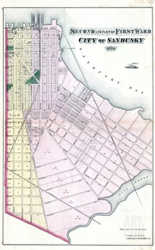 1874, Sandusky City - Ward 2, Ward 1 - Part, Ohio, United States Stretched Canvas Print