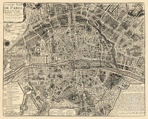 Paris, France, Vintage Map Stretched Canvas Print