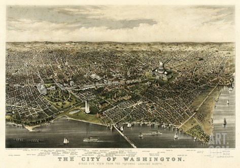 1880, Washington 1880c Bird's Eye View, District of Columbia, United States Stretched Canvas Print