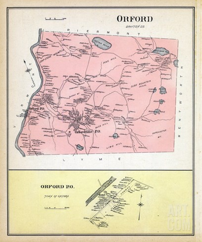 1892, Orford, Orford Town, New Hampshire, United States Stretched Canvas Print