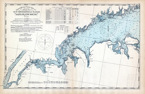 1893, United States Coast Survey - New York to Norwalk Islands - Long Island Sound, Connecticut, US Stretched Canvas Print