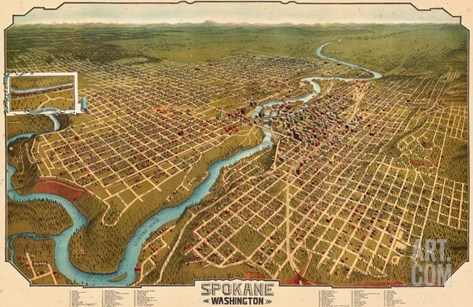 1905, Spokane Bird's Eye View, Washington, United States Stretched Canvas Print