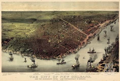 1885, New Orleans Bird's Eye View, Louisiana, United States Stretched Canvas Print
