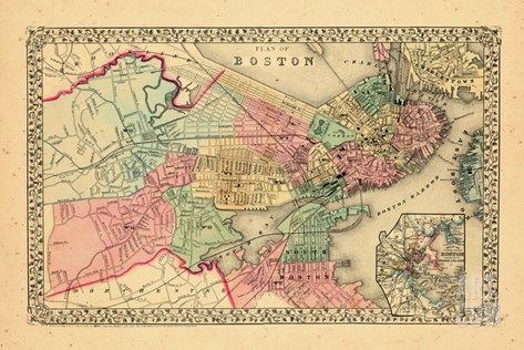 1870, Boston, Massachusetts Stretched Canvas Print