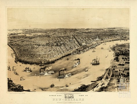 1851, New Orleans Bird's Eye View, Louisiana, United States Stretched Canvas Print