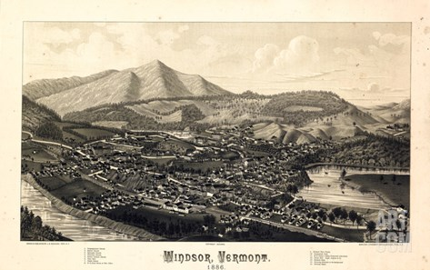 1886, Windsor Bird's Eye View, Vermont, United States Stretched Canvas Print