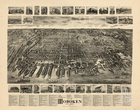 1904, Hoboken Bird's Eye View, New Jersey, United States Stretched Canvas Print