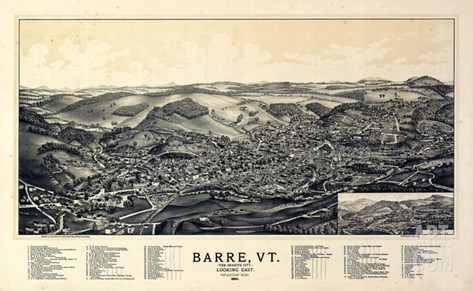 1891, Barre Bird's Eye View, Vermont, United States Stretched Canvas Print