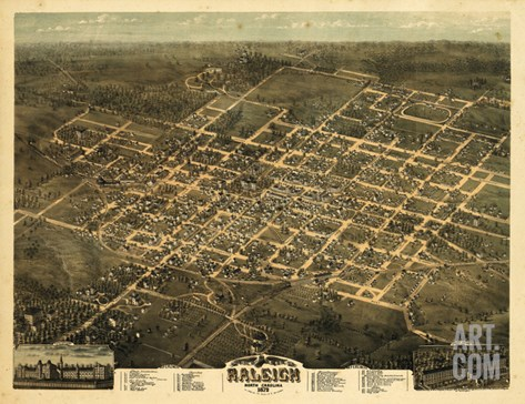 1872, Raleigh Bird's Eye View, North Carolina, United States Stretched Canvas Print