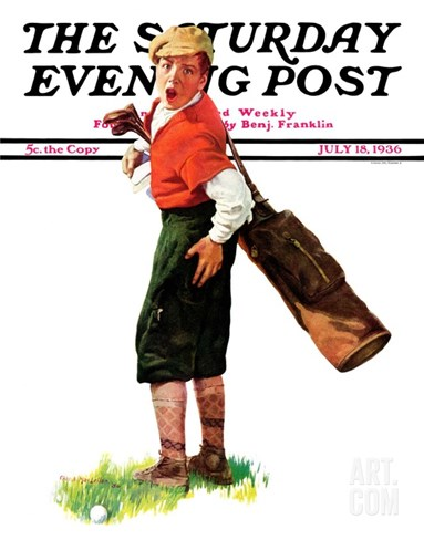 """Wounded Caddy,"" Saturday Evening Post Cover, July 18, 1936 Stretched Canvas Print"