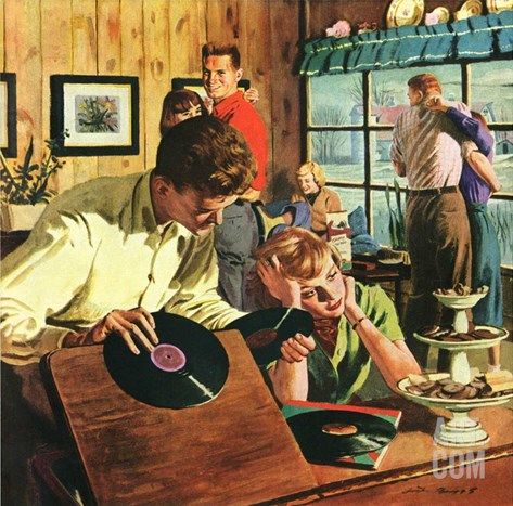 """Teenage Party,""March 1, 1950 Stretched Canvas Print"