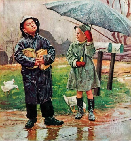 """Waiting for Bus in Rain,""April 1, 1948 Stretched Canvas Print"