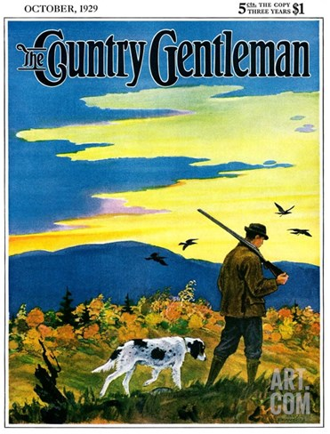 """Duck Hunter and Dog,"" Country Gentleman Cover, October 1, 1929 Stretched Canvas Print"