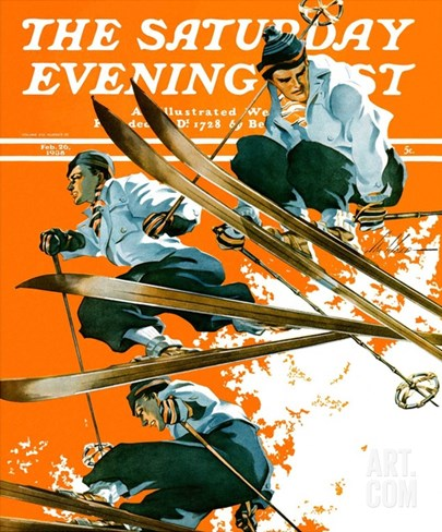 """Ski Jumpers,"" Saturday Evening Post Cover, February 26, 1938 Stretched Canvas Print"