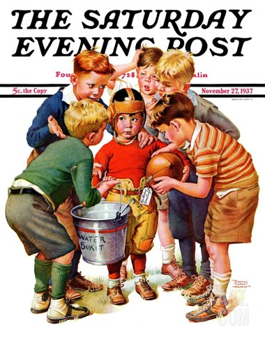 """You Can Be the Water Boy!,"" Saturday Evening Post Cover, November 27, 1937 Stretched Canvas Print"