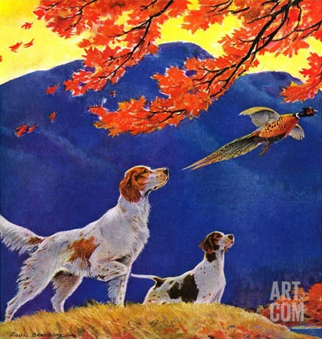 """Pointing to the Pheasant,""November 1, 1937 Stretched Canvas Print"