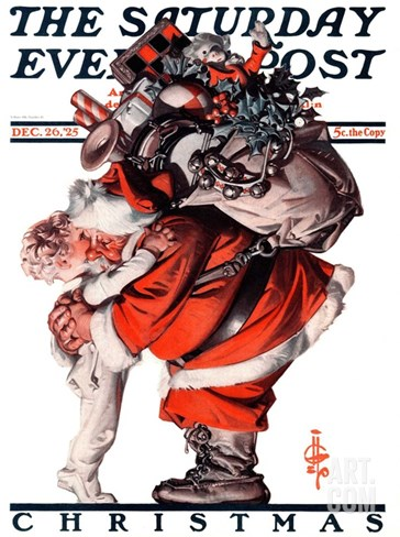 """Hug from Santa,"" Saturday Evening Post Cover, December 26, 1925 Stretched Canvas Print"