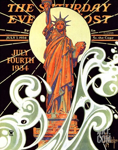"""Statue of Liberty,"" Saturday Evening Post Cover, July 7, 1934 Stretched Canvas Print"